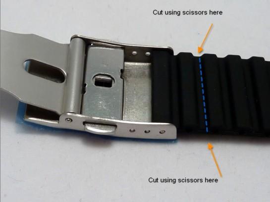 Where to scissor cut the strap.