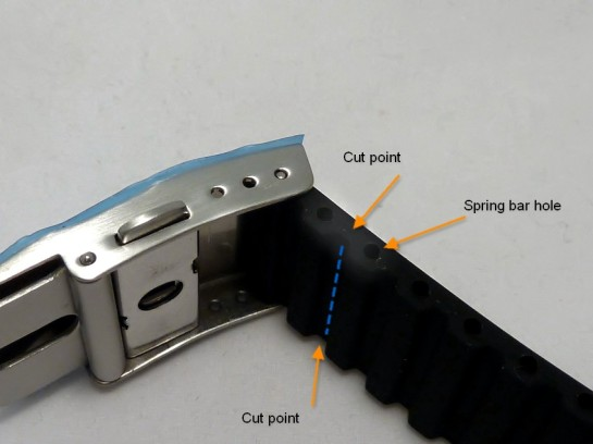 Cut points - select a point to suit you on each side of the watch.