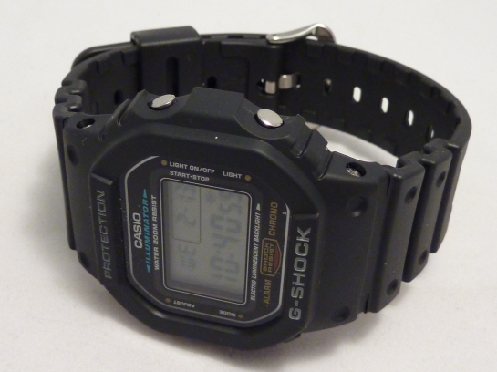 G-Shock - special strap means it can't sit upright.