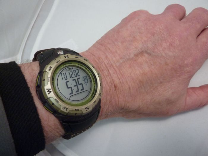 On the wrist - very comfortable - looks larger than it is owing to the pre-curved strap.