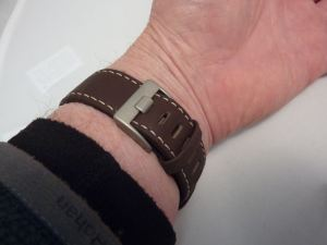 Leather strap is nice quality & buckle sits flat.