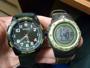 Comparison Wenger Nomad v Timex.  Wenger much heavier and deeper too,