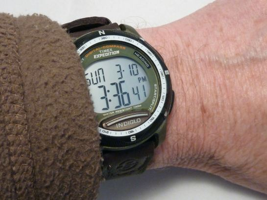 On the wrist - a sensible size and WITH a compass!