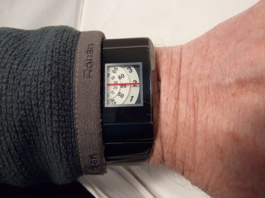 On the wrist - looks good with display at right side of case.
