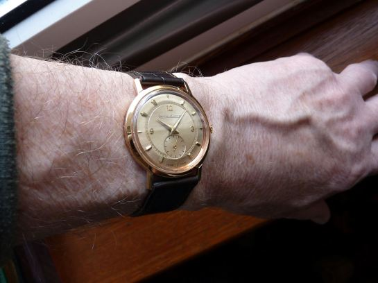 18ct Rose Gold Jaeger-LeCoultre at just under 34mm looks just fine.