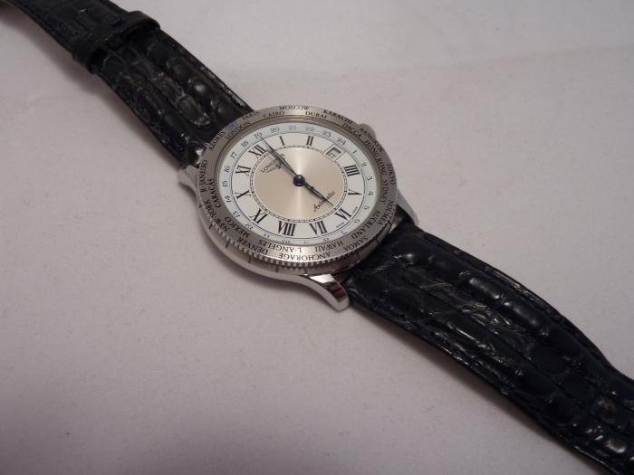 Longines Lindberg GMT World Time with original slate/blue Croco strap