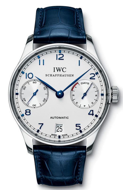 IWC Silver/Blue Gents watch.