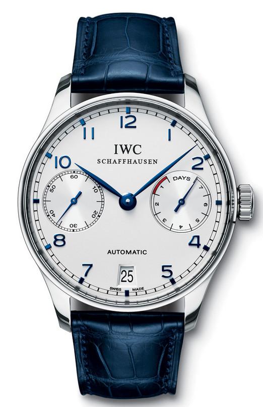 IWC Silver/Blue Gents watch.