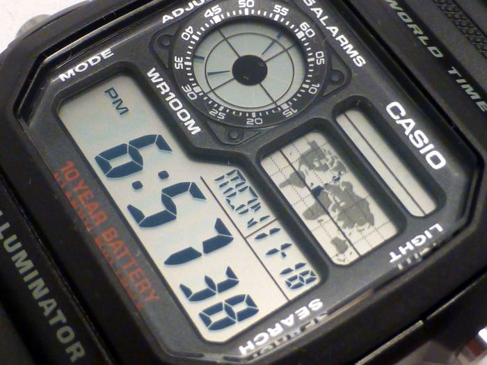 Great Casio high contrast display with permanent local analogue sub-dial.