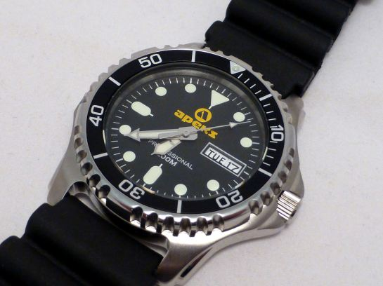 Solid case, uni-directional bezel and Screw Down Crown. Quality build.