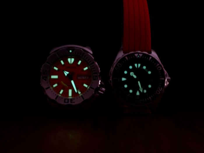 Note the size difference of the luminous dials. The larger the better.