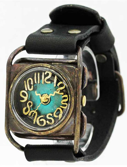 "Vintage style Handmade Bracelet watch ""KAKU(Blue)"" leather steampunk"