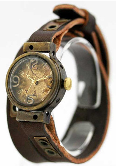 "Vintage style Handmade Bracelet watch ""Hole"" leather steampunk"