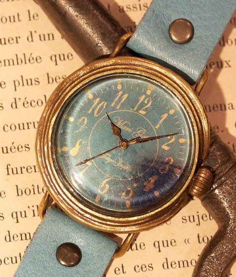 "Vintage style Handmade watch ""macaron"" (Mint) L-size leather steampunk"