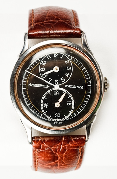 Listed as Jaeger Le Coultre, black dial Gents.
