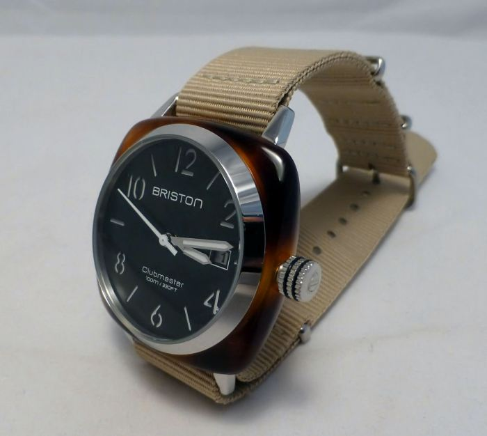 Briston HMS date watch - black/khaki with polished acetate case