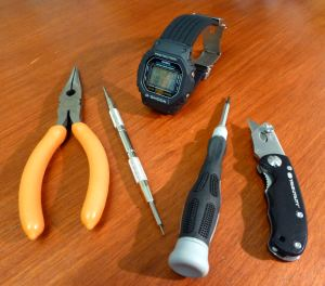 Tools required - Bergeron spring bar tool, screwdriver, knife (Pliers not needed after all here).