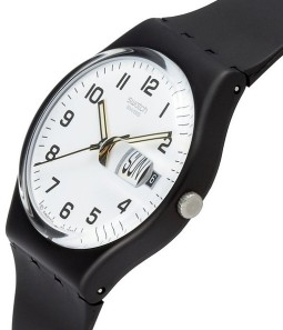 """Swatch """"Once Again"""" model with White on Black."""