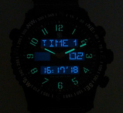 Great night vision - Superluminova analog and digital back light.