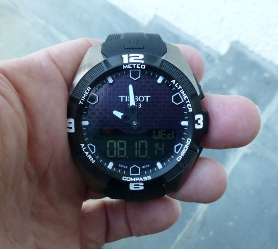 Tissot Solar T-Touch Expert showing standard view (optional calendar shown). Note - business week Number option available.