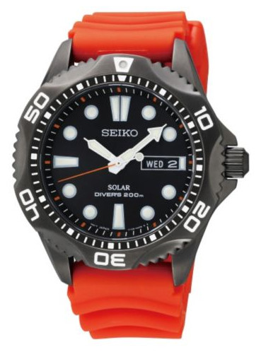 Seiko Solar Diver SNE245P9 in black dial and case.