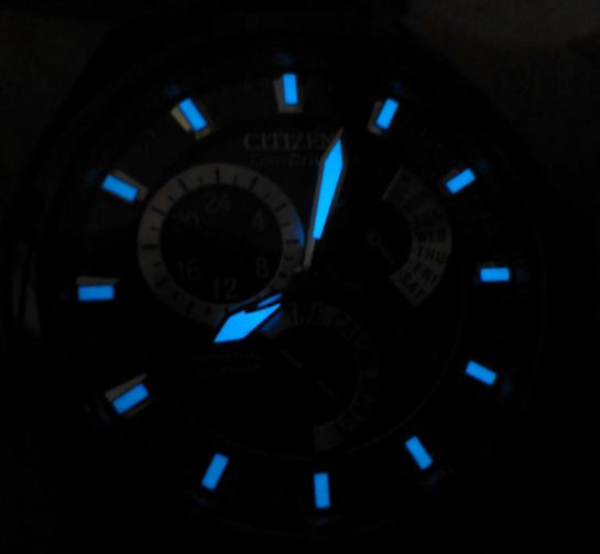 Citizen BL8097-52E at night.