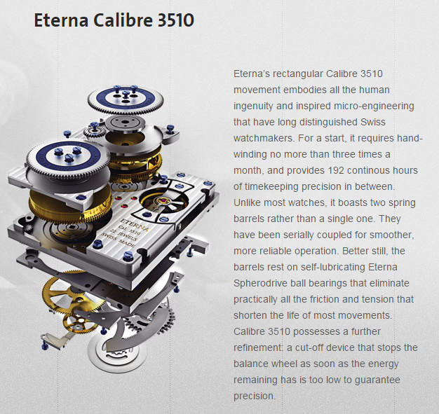 Eterna Calibre 3510 - Spherodrive with twin barrels 8 day capability.