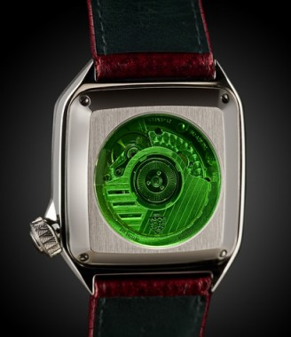 Customized ETA2892-A Swiss Automatic seen through amazing green crystal viewing post.