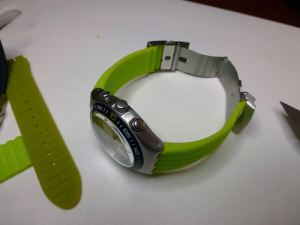 Finished article - standard 22 mm silicon strap cut to fit - just DIY at the end of the day.