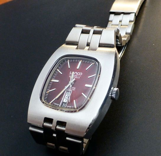 Large 107gms Stainless Steel case with integral bracelet.  Lanco New old Stock