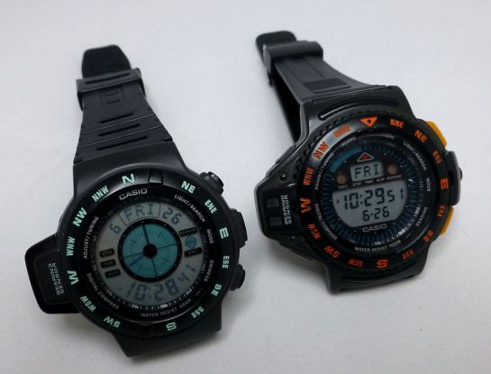 Casio CPW100 and 200 Digital Compass models. Circa 1993