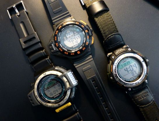 A trio of Casio Sensor watches.  Wow!