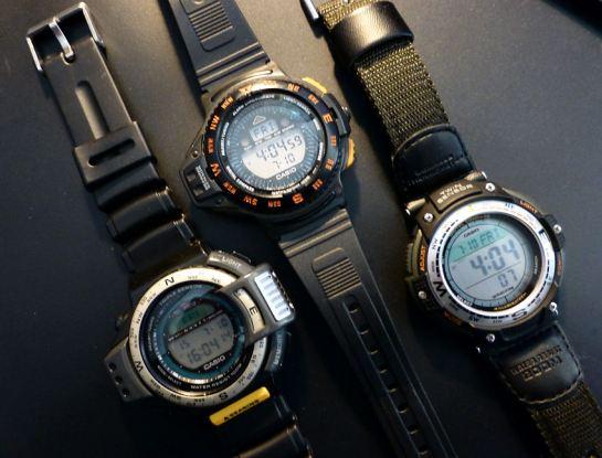 A trio of Casio Sensor watches. Wow!