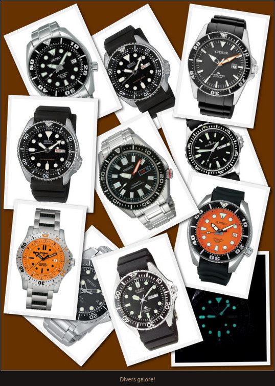 Lot's of Divers - all super clear, Water Resistant, Tough, luminous and difficult to beat.