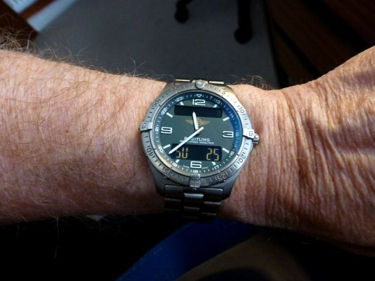 My Breitlng Areospace - taken today where it usually is - on my wrist.