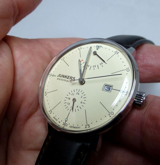 Time, Date, Power Reserve and 24 hr sub-dial from Junkers.