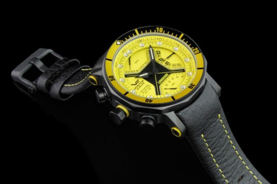 Striking model in yellow with leather strap alternative (supplied)