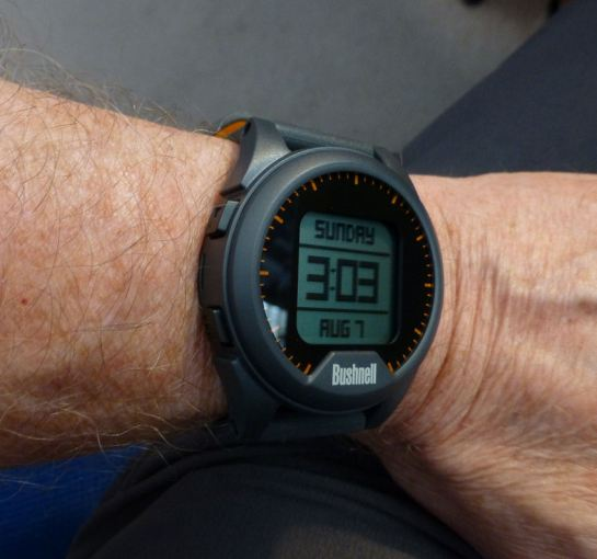 The Bushnell on the wrist, chunky but very comfortable.