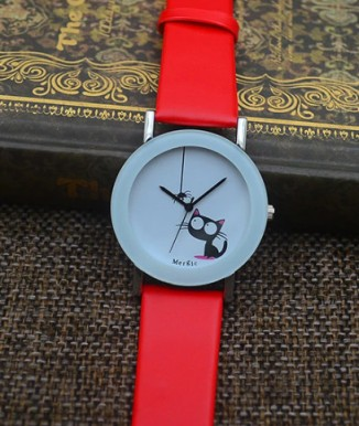 Cat watch in red (also blue and a few other colors)
